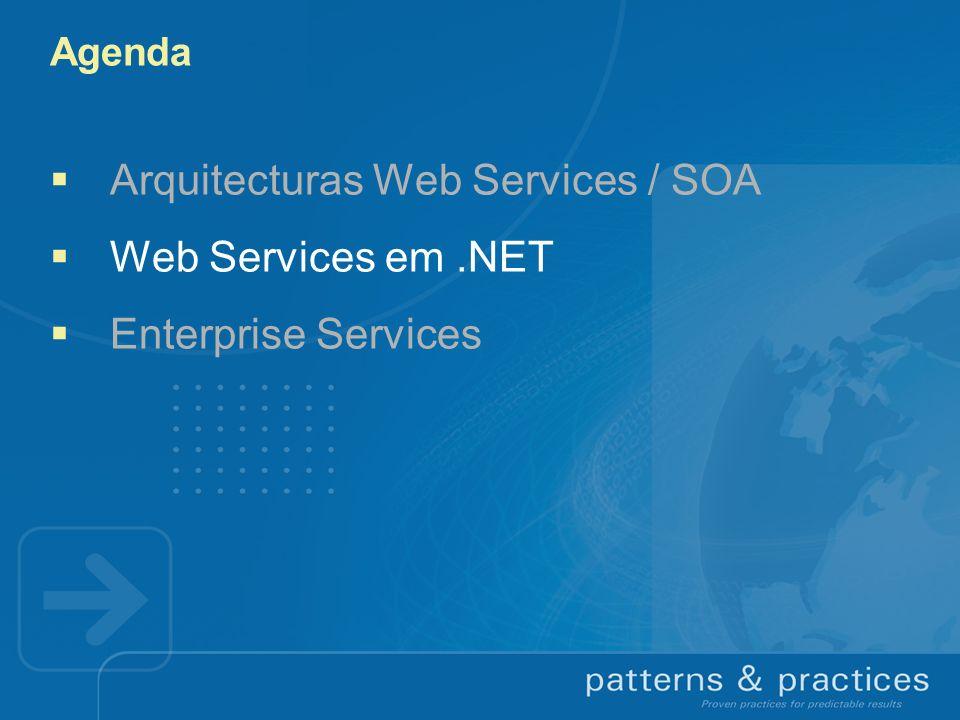 Agenda Arquitecturas Web Services / SOA Web Services em.NET Enterprise Services