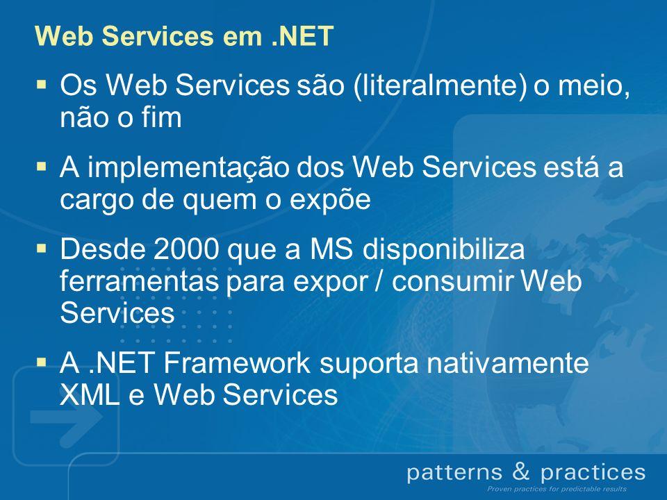 Web Services em.NET Os Web Services são (literalmente) o meio, não o fim A implementação dos Web Services está a cargo de quem o expõe Desde 2000 que