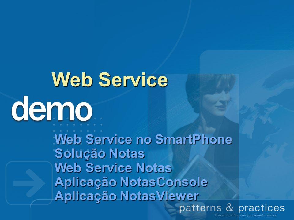 Web Service Web Service no SmartPhone Solução Notas Web Service Notas Aplicação NotasConsole Aplicação NotasViewer