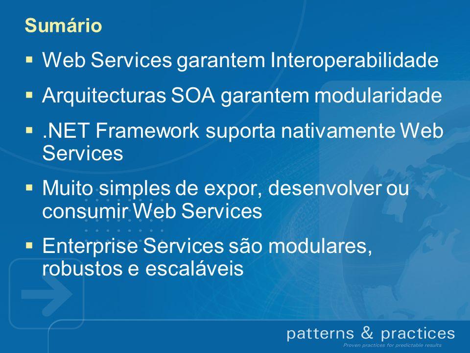 Sumário Web Services garantem Interoperabilidade Arquitecturas SOA garantem modularidade.NET Framework suporta nativamente Web Services Muito simples