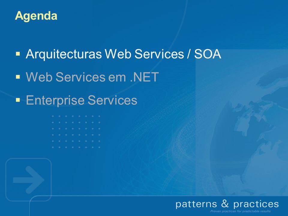 Web Services em.NET Scales Down para devices Scales In na máquina Scales Up em sistemas high-end Scales Away entre organizações & geografias Scales Out Adicionandomáquinas