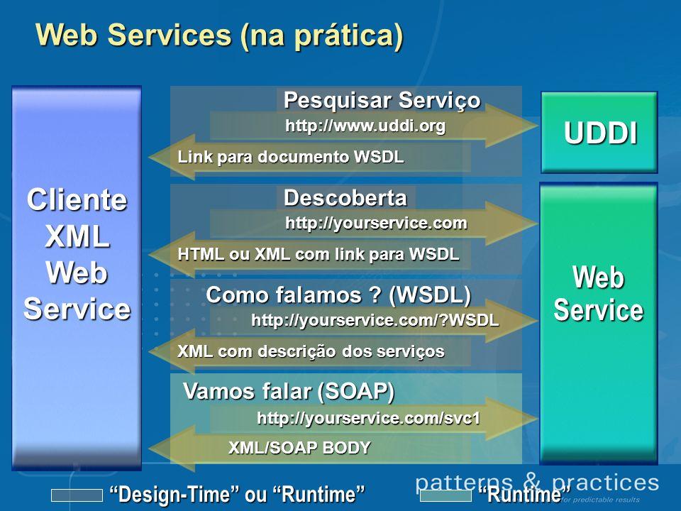 Web Services (na prática) Descoberta Vamos falar (SOAP) Design-Time ou Runtime Runtime http://yourservice.com HTML ou XML com link para WSDL Como fala