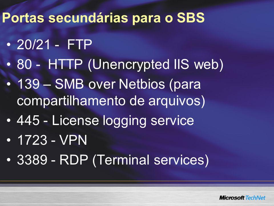 Portas secundárias para o SBS 20/21 - FTP 80 - HTTP (Unencrypted IIS web) 139 – SMB over Netbios (para compartilhamento de arquivos) 445 - License logging service 1723 - VPN 3389 - RDP (Terminal services)