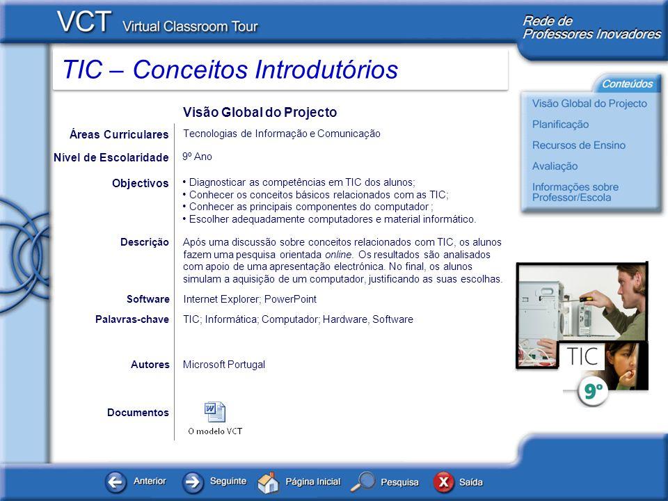 TIC – Conceitos Introdutórios Planificação O documento disponibilizado abaixo contém a planificação do projecto, explicando as actividades e propondo sugestões de realização das mesmas.
