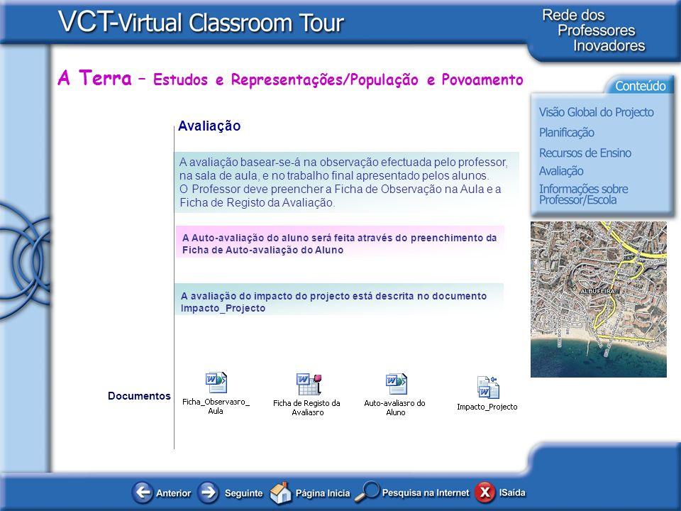 A Terra – Estudos e Representações/População e Povoamento Avaliação A avaliação basear-se-á na observação efectuada pelo professor, na sala de aula, e no trabalho final apresentado pelos alunos.