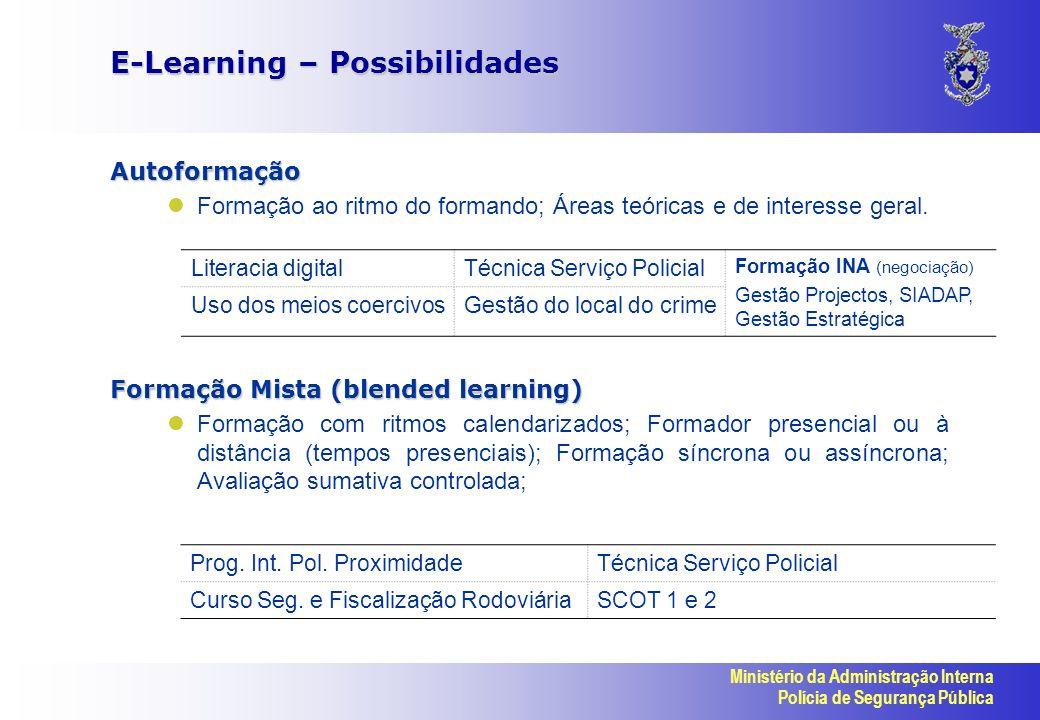 Ministério da Administração Interna Polícia de Segurança Pública E-Learning – Possibilidades Autoformação Formação ao ritmo do formando; Áreas teóricas e de interesse geral.
