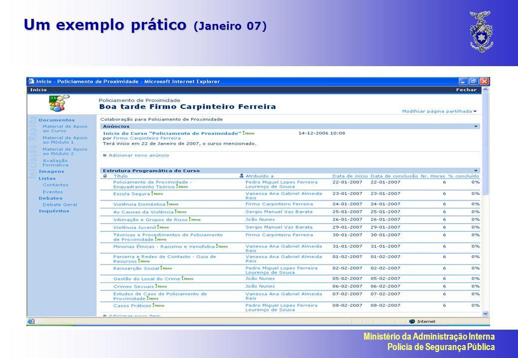 Ministério da Administração Interna Polícia de Segurança Pública Um exemplo prático (Janeiro 07)
