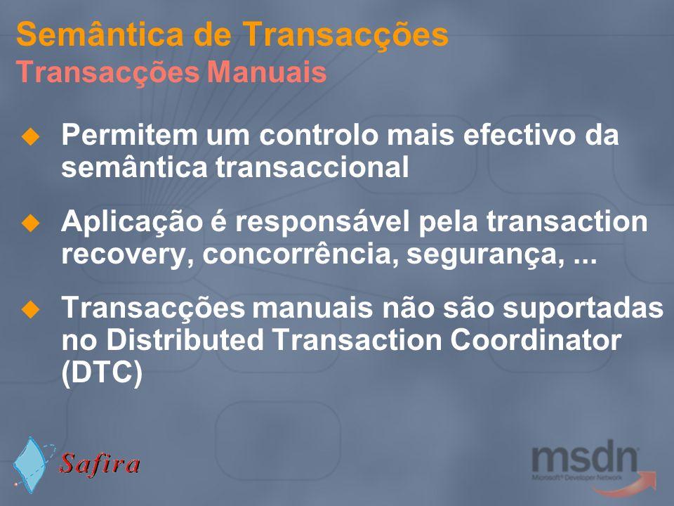 Semântica de Transacções Transacções Manuais Permitem um controlo mais efectivo da semântica transaccional Aplicação é responsável pela transaction re