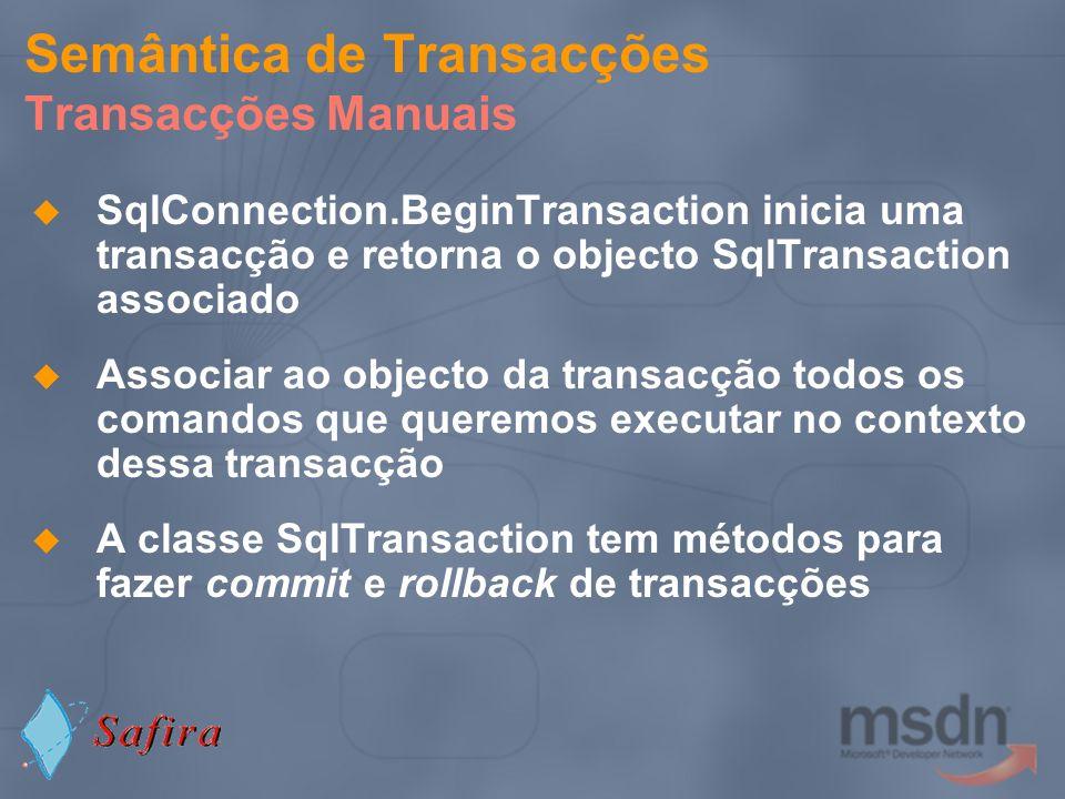 Semântica de Transacções Transacções Manuais SqlConnection.BeginTransaction inicia uma transacção e retorna o objecto SqlTransaction associado Associa