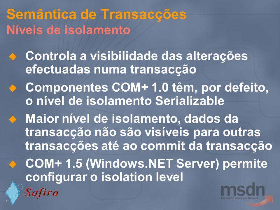 Semântica de Transacções Níveis de isolamento Controla a visibilidade das alterações efectuadas numa transacção Componentes COM+ 1.0 têm, por defeito,