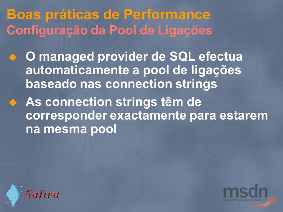 Boas práticas de Performance Configuração da Pool de Ligações O managed provider de SQL efectua automaticamente a pool de ligações baseado nas connect
