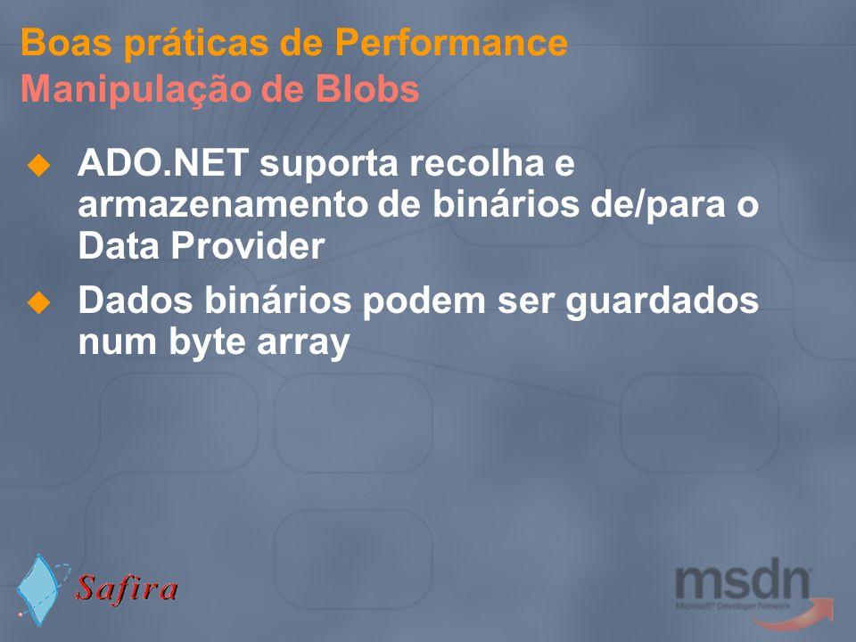 Boas práticas de Performance Manipulação de Blobs ADO.NET suporta recolha e armazenamento de binários de/para o Data Provider Dados binários podem ser