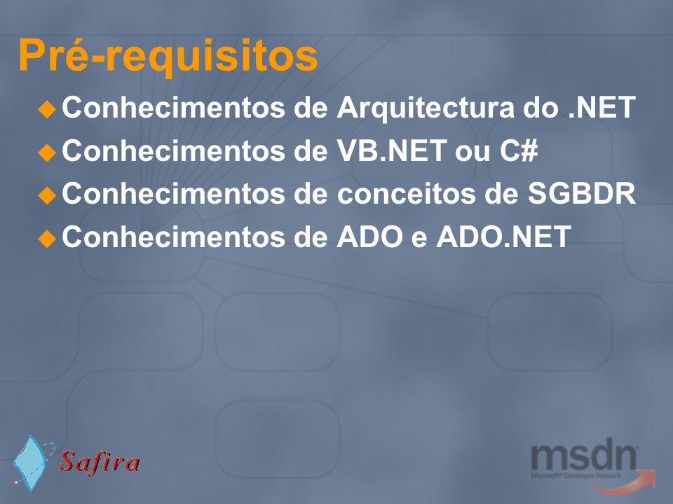 Agenda Recomendações de Segurança na utilização de ADO.NET no acesso a dados Recomendações no Tratamento de Erros Semântica de Transacções em ADO.NET Boas práticas de Performance Paginação de dados em ADO.NET Boas práticas usando Databound Controls ADO.NET 1.1: Novas funcionalidades