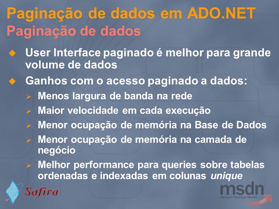 Paginação de dados em ADO.NET Paginação de dados User Interface paginado é melhor para grande volume de dados Ganhos com o acesso paginado a dados: Me