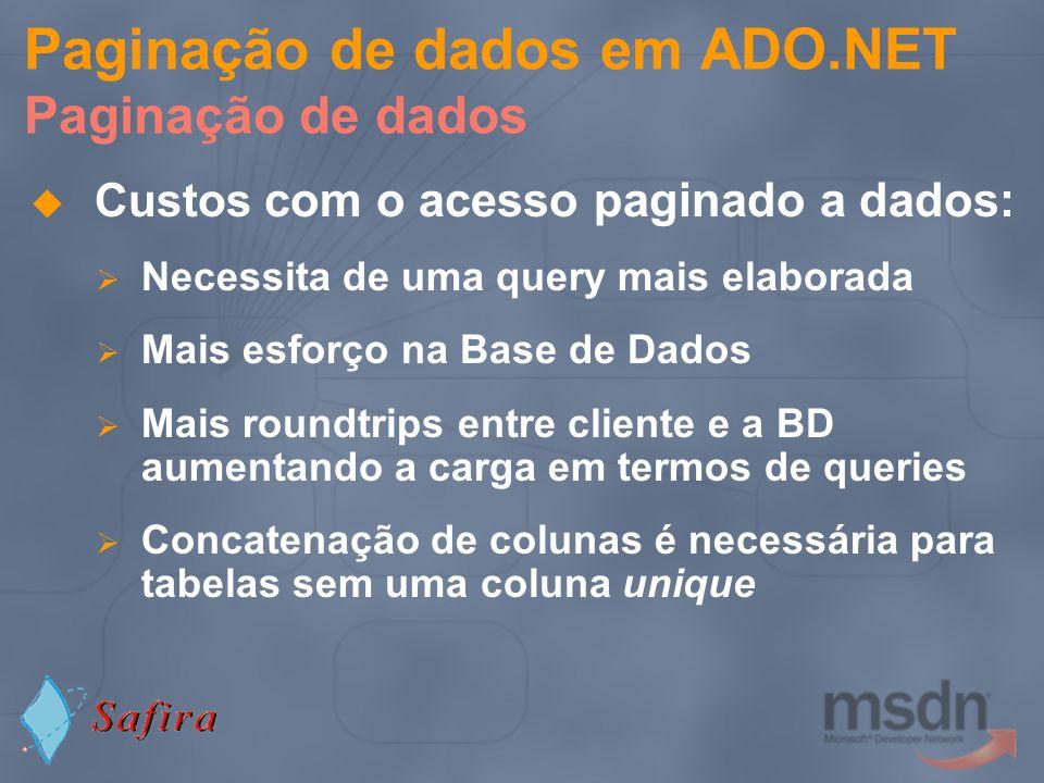 Paginação de dados em ADO.NET Paginação de dados Custos com o acesso paginado a dados: Necessita de uma query mais elaborada Mais esforço na Base de D