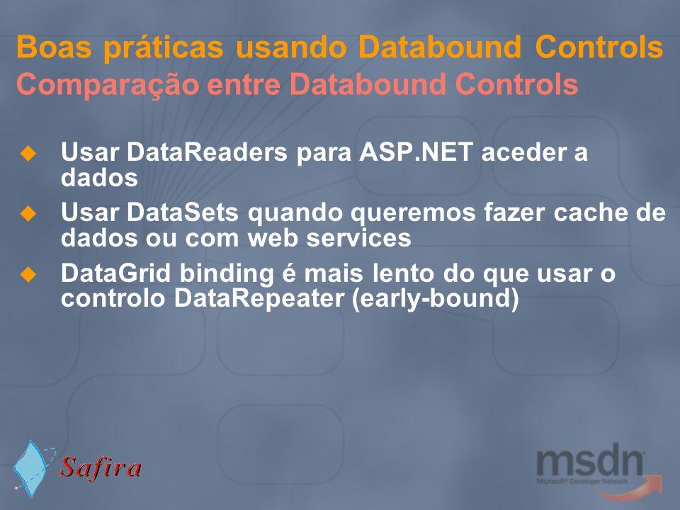 Boas práticas usando Databound Controls Comparação entre Databound Controls Usar DataReaders para ASP.NET aceder a dados Usar DataSets quando queremos