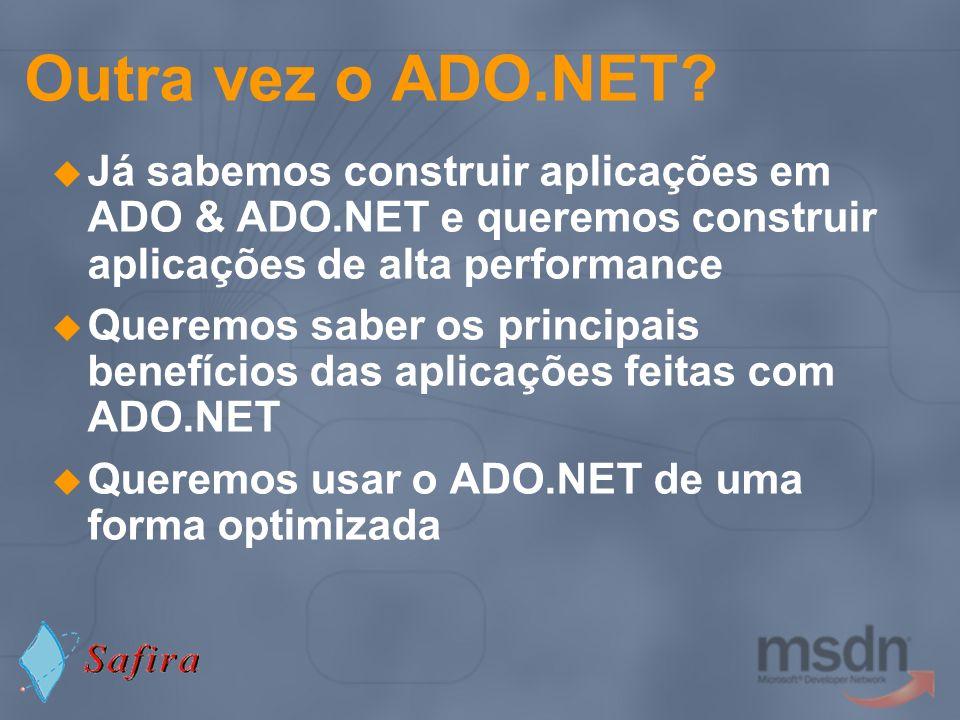ADO.NET 1.1: Novas funcionalidades SQLClient e Partial Trust Cenário Uma aplicação vai ser executada em sand-boxes partially-trusted Internet Explorer A partir de um share \\server\share\app.exe\\server\share\app.exe A partir de um URL http://server.com/app.exehttp://server.com/app.exe … Solução SqlClient (ADO.NET 1.1) Conceder permissões explicitamente Microsoft.NET Framework 1.1 Configuration
