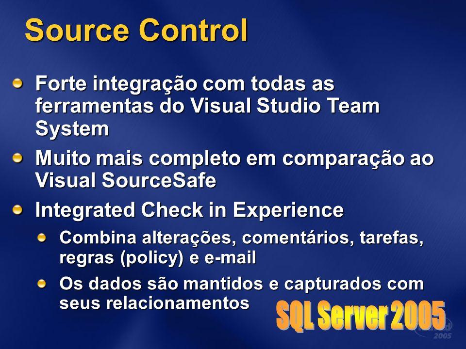Forte integração com todas as ferramentas do Visual Studio Team System Muito mais completo em comparação ao Visual SourceSafe Integrated Check in Experience Combina alterações, comentários, tarefas, regras (policy) e e-mail Os dados são mantidos e capturados com seus relacionamentos