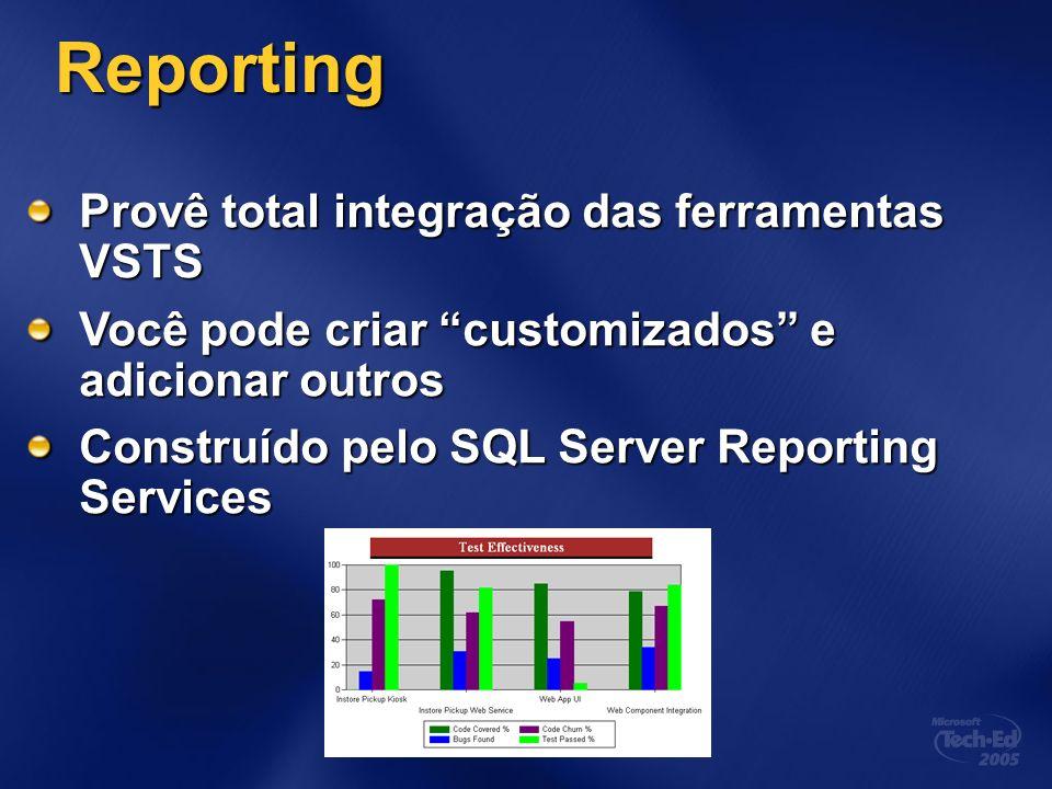 Reporting Provê total integração das ferramentas VSTS Você pode criar customizados e adicionar outros Construído pelo SQL Server Reporting Services