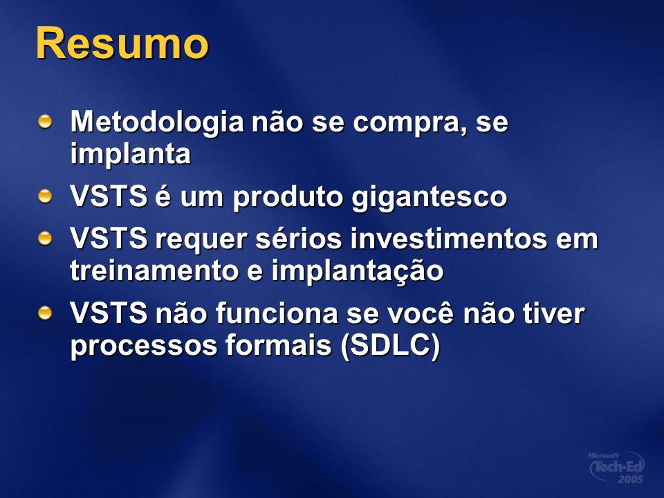 Resumo Metodologia não se compra, se implanta VSTS é um produto gigantesco VSTS requer sérios investimentos em treinamento e implantação VSTS não funciona se você não tiver processos formais (SDLC)