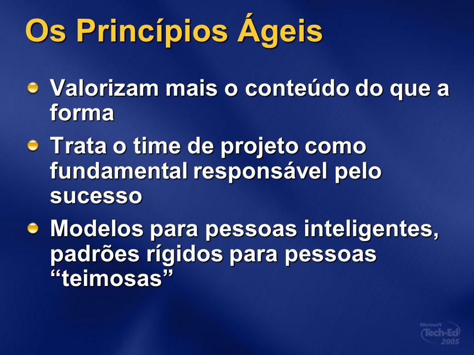 Os Princípios Ágeis Valorizam mais o conteúdo do que a forma Trata o time de projeto como fundamental responsável pelo sucesso Modelos para pessoas inteligentes, padrões rígidos para pessoas teimosas
