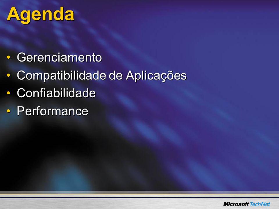 Agenda GerenciamentoGerenciamento Compatibilidade de AplicaçõesCompatibilidade de Aplicações ConfiabilidadeConfiabilidade PerformancePerformance
