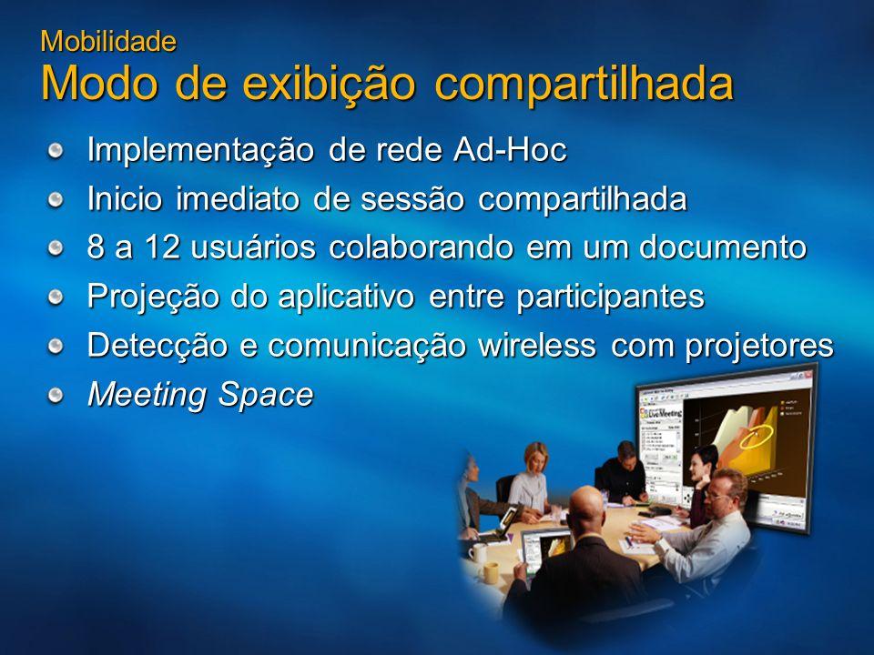 Mobilidade Modo de exibição compartilhada Implementação de rede Ad-Hoc Inicio imediato de sessão compartilhada 8 a 12 usuários colaborando em um docum