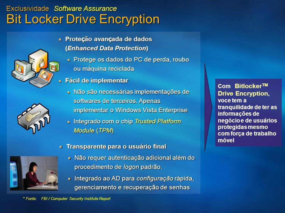 Exclusividade Software Assurance Bit Locker Drive Encryption Prote ç ão avan ç ada de dados (Enhanced Data Protection) Protege os dados do PC de perda