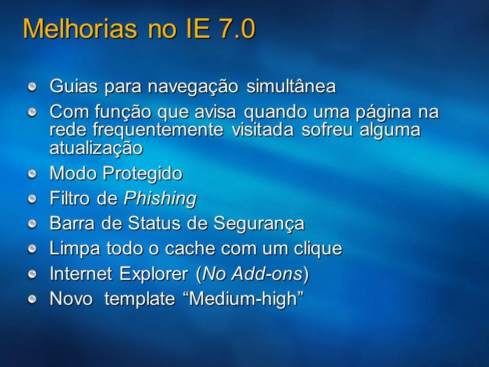 Melhorias no IE 7.0 Guias para navegação simultânea Com função que avisa quando uma página na rede frequentemente visitada sofreu alguma atualização M