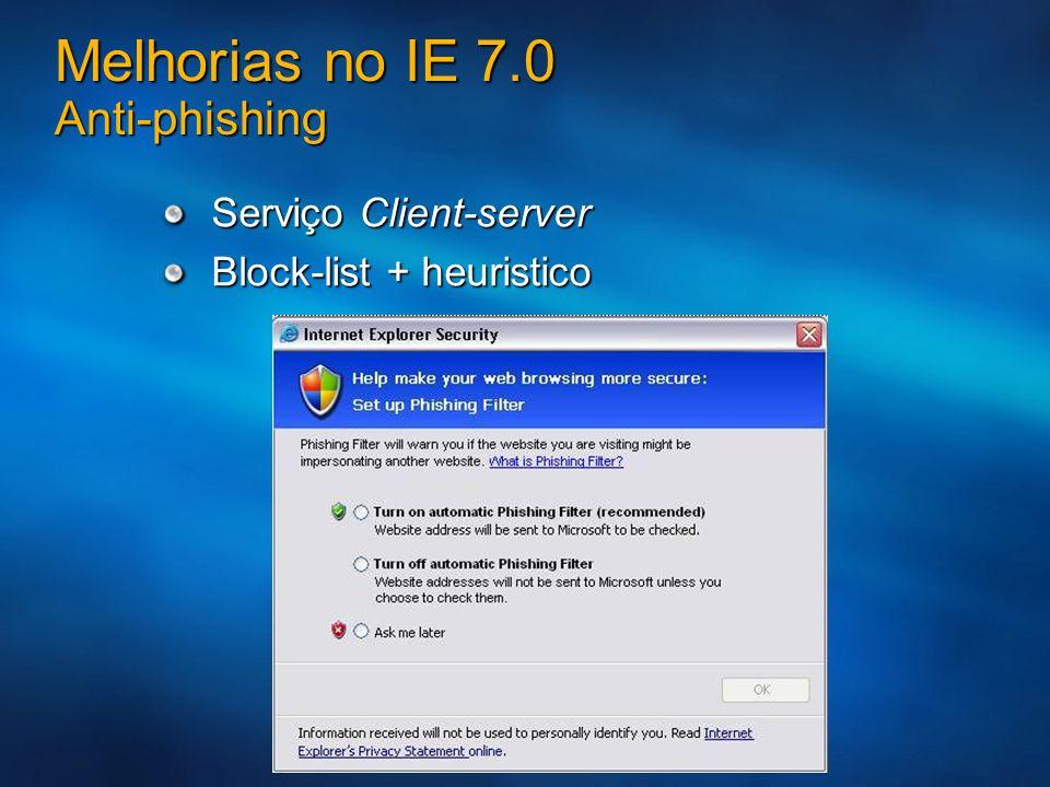 Melhorias no IE 7.0 Anti-phishing Serviço Client-server Block-list + heuristico