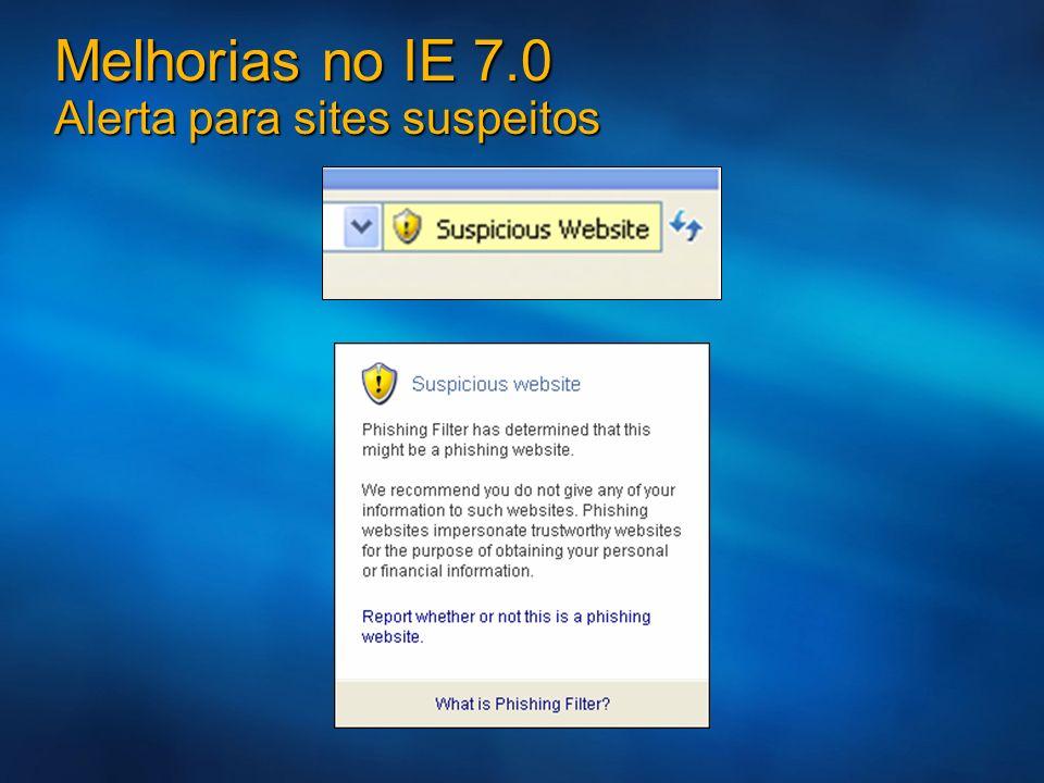 Melhorias no IE 7.0 Alerta para sites suspeitos