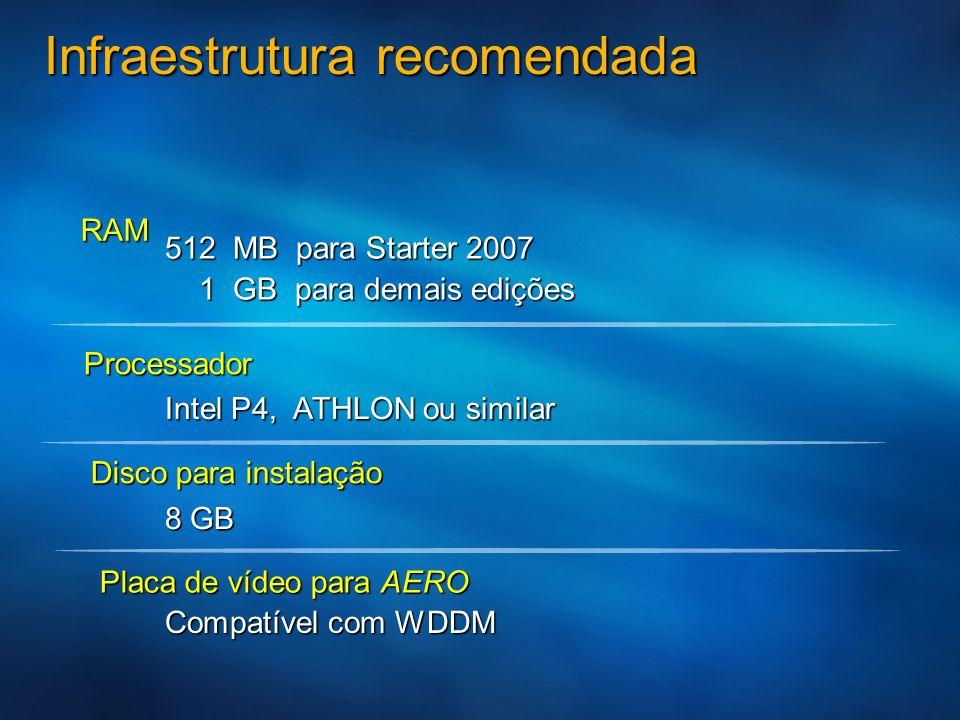 Infraestrutura recomendada RAM 512 MB para Starter 2007 1 GB para demais edições 1 GB para demais edições Processador Disco para instalação Intel P4,