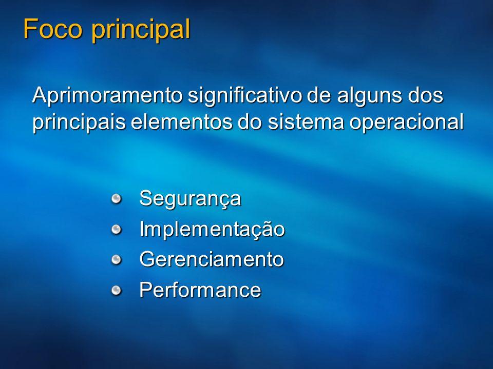 Foco principal Segurança Segurança Implementação Implementação Gerenciamento Gerenciamento Performance Performance Aprimoramento significativo de algu