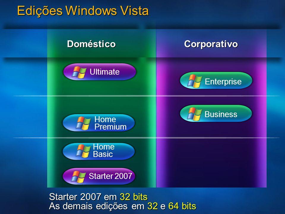 Edições Windows Vista Home Premium Home Basic Starter 2007 Enterprise CorporativoDoméstico Starter 2007 em 32 bits As demais edições em 32 e 64 bits U