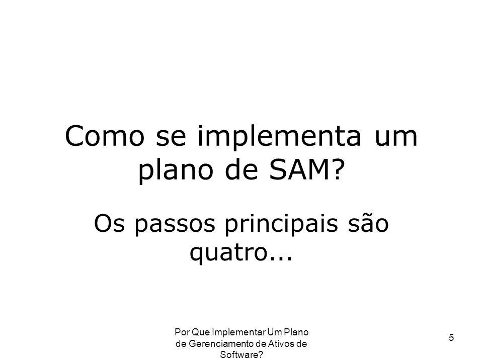 Por Que Implementar Um Plano de Gerenciamento de Ativos de Software? 5 Como se implementa um plano de SAM? Os passos principais são quatro...