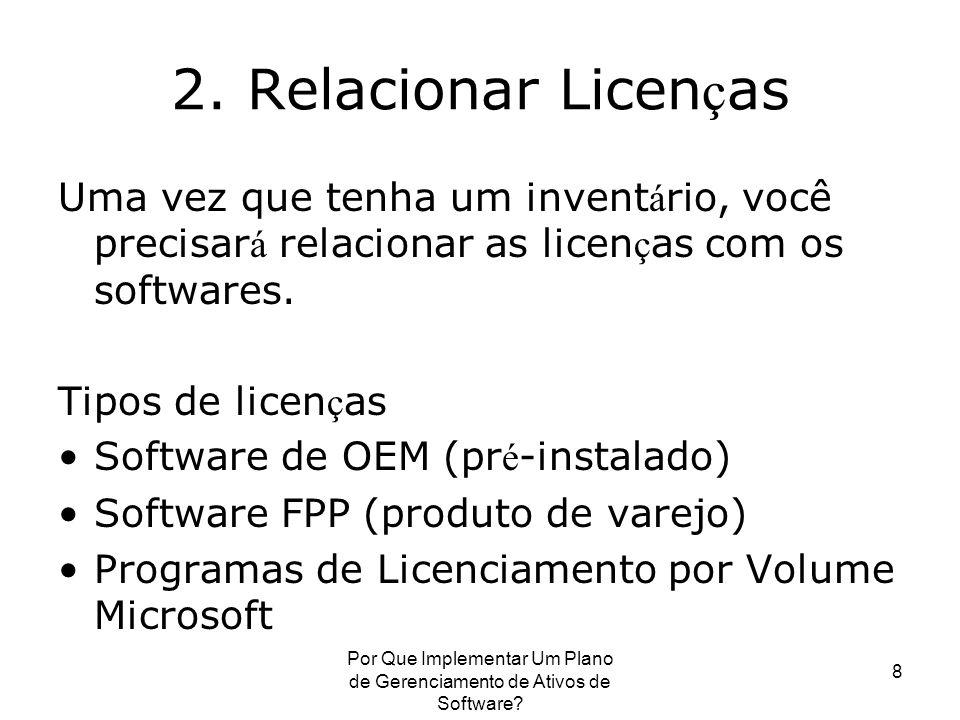 Por Que Implementar Um Plano de Gerenciamento de Ativos de Software? 8 2. Relacionar Licen ç as Uma vez que tenha um invent á rio, você precisar á rel