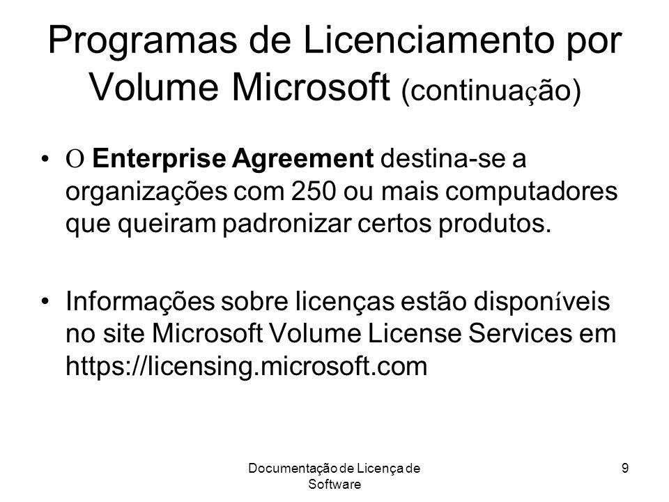 Documentação de Licença de Software 9 Programas de Licenciamento por Volume Microsoft (continua ç ão) O Enterprise Agreement destina-se a organizações