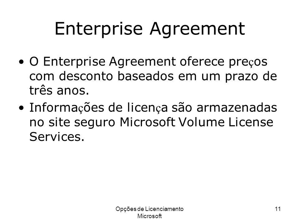 Opções de Licenciamento Microsoft 11 Enterprise Agreement O Enterprise Agreement oferece pre ç os com desconto baseados em um prazo de três anos. Info