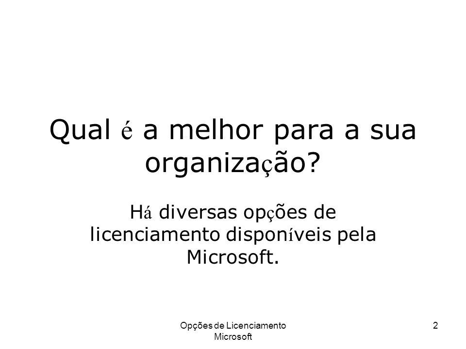 Opções de Licenciamento Microsoft 2 Qual é a melhor para a sua organiza ç ão? H á diversas op ç ões de licenciamento dispon í veis pela Microsoft.
