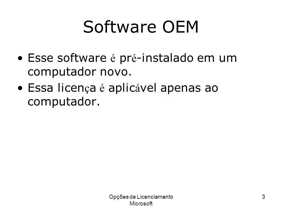 Opções de Licenciamento Microsoft 3 Software OEM Esse software é pr é -instalado em um computador novo. Essa licen ç a é aplic á vel apenas ao computa