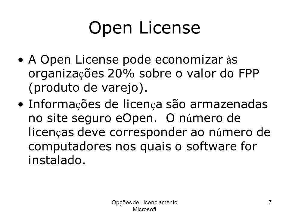 Opções de Licenciamento Microsoft 7 Open License A Open License pode economizar à s organiza ç ões 20% sobre o valor do FPP (produto de varejo). Infor