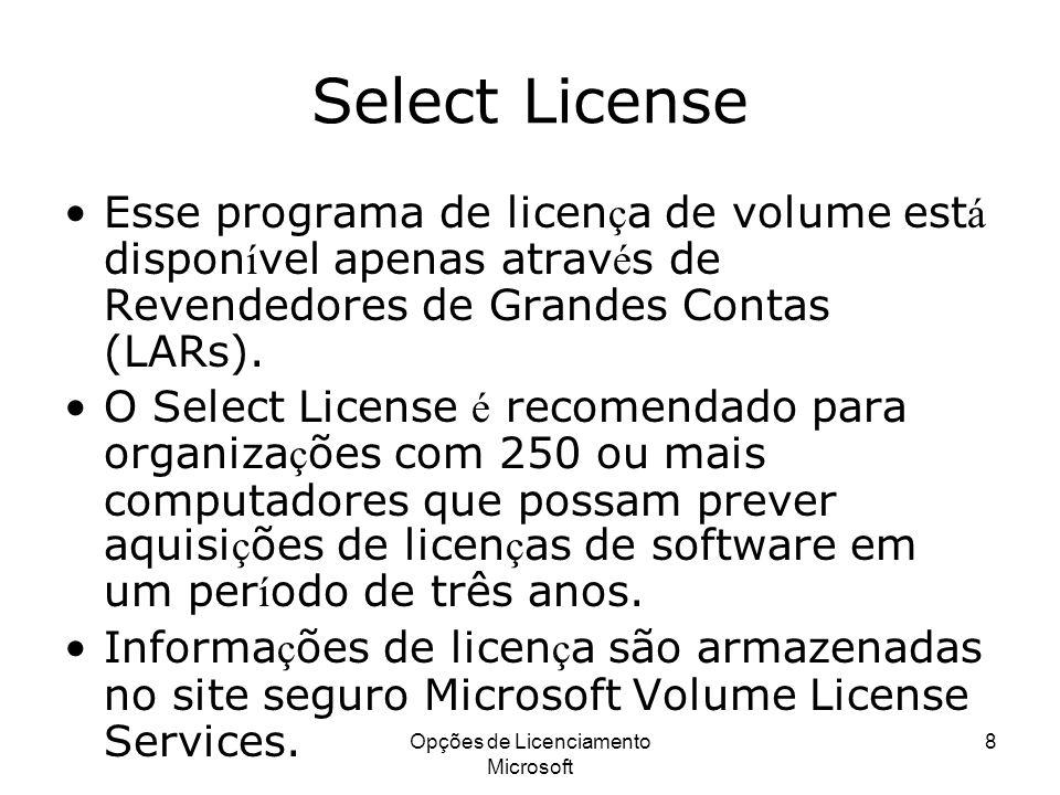 Opções de Licenciamento Microsoft 8 Select License Esse programa de licen ç a de volume est á dispon í vel apenas atrav é s de Revendedores de Grandes