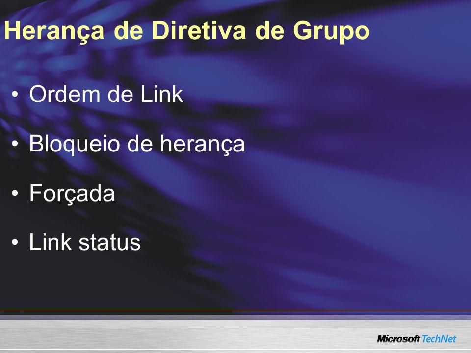 Herança de Diretiva de Grupo Ordem de Link Bloqueio de herança Forçada Link status