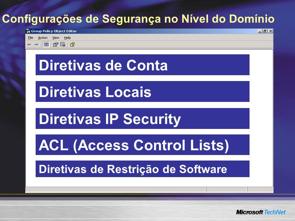 Diretivas de Restrição de Software ACL (Access Control Lists) Configurações de Segurança no Nível do Domínio Diretivas de Conta Diretivas Locais Diret