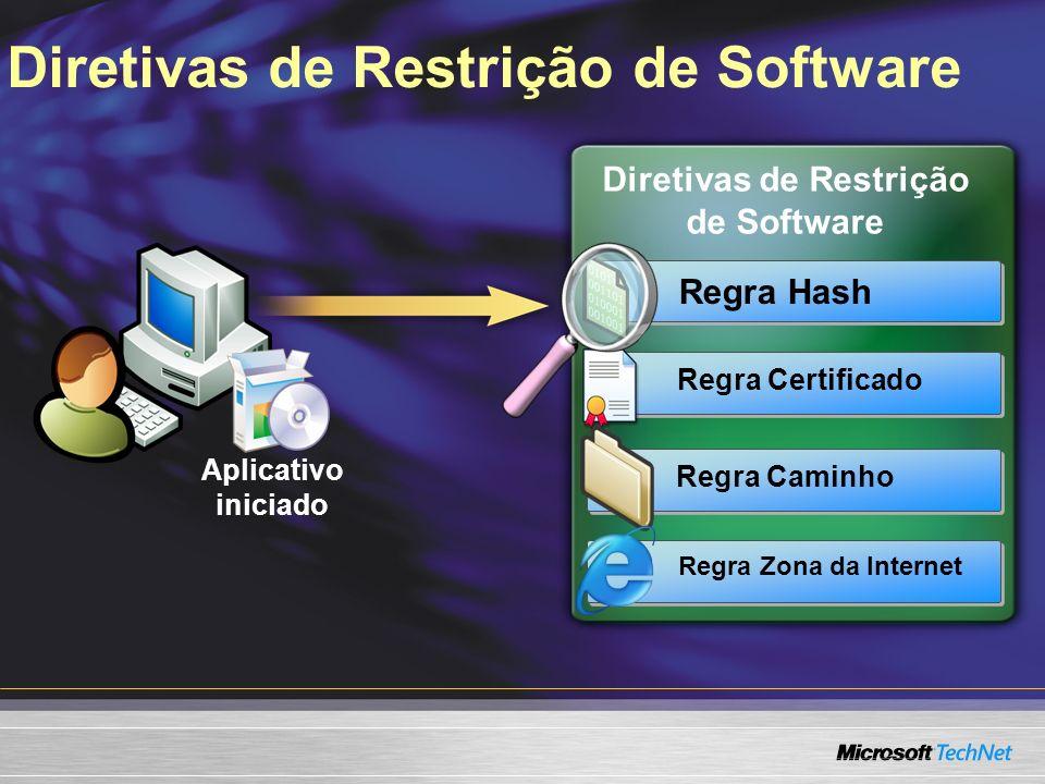 Diretivas de Restrição de Software Aplicativo iniciado Regra Hash Regra Certificado Regra Caminho Regra Zona da Internet