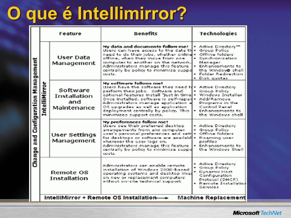 Distribuindo usando Intellimirror Implemente para um domínio ou Organizational Unit (OU).Implemente para um domínio ou Organizational Unit (OU).