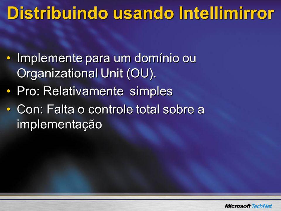Distribuindo usando Intellimirror Localizando o arquivo de instalação Pasta:%SYSTEMROOT%\system32\clients\tsclient\win32