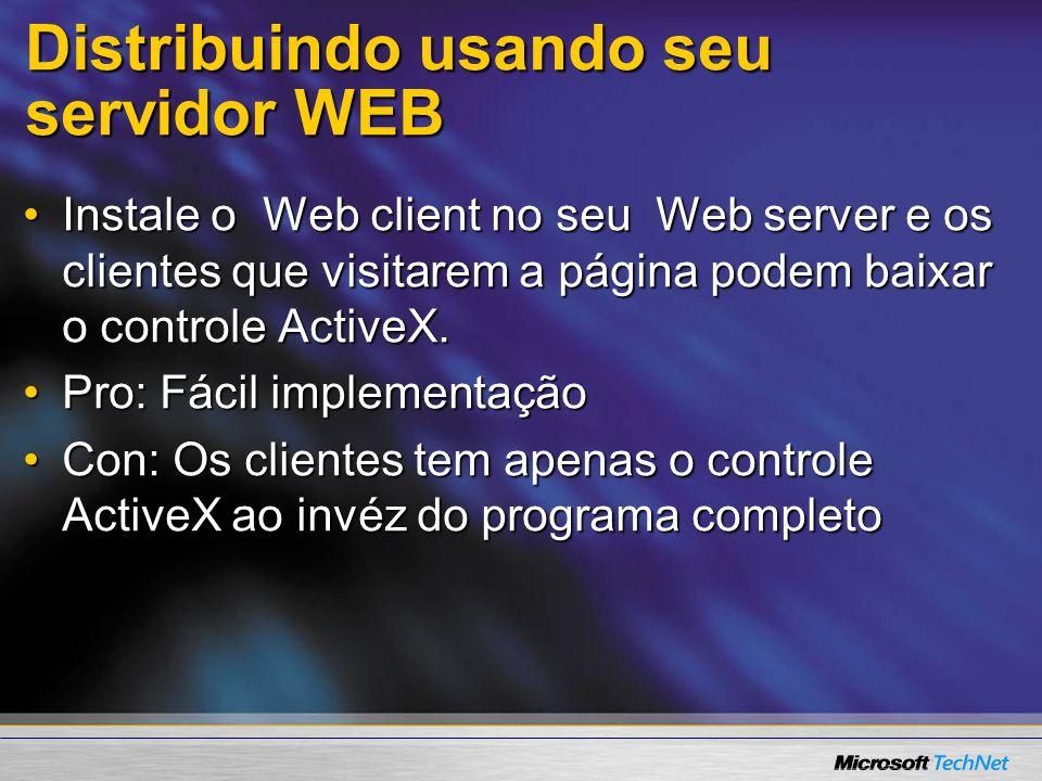 Distribuindo usando seu servidor WEB Adicionar e remover Componentes do Windows