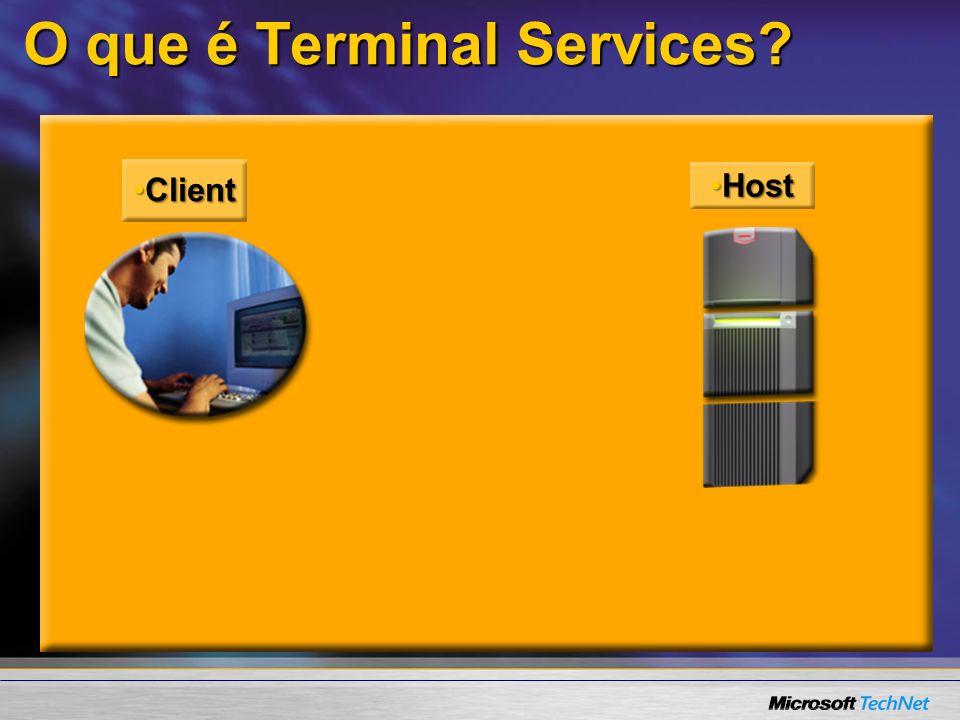 O que é Terminal Services? RDP 5.2RDP 5.2 TCP/IPTCP/IP ClientClient HostHost