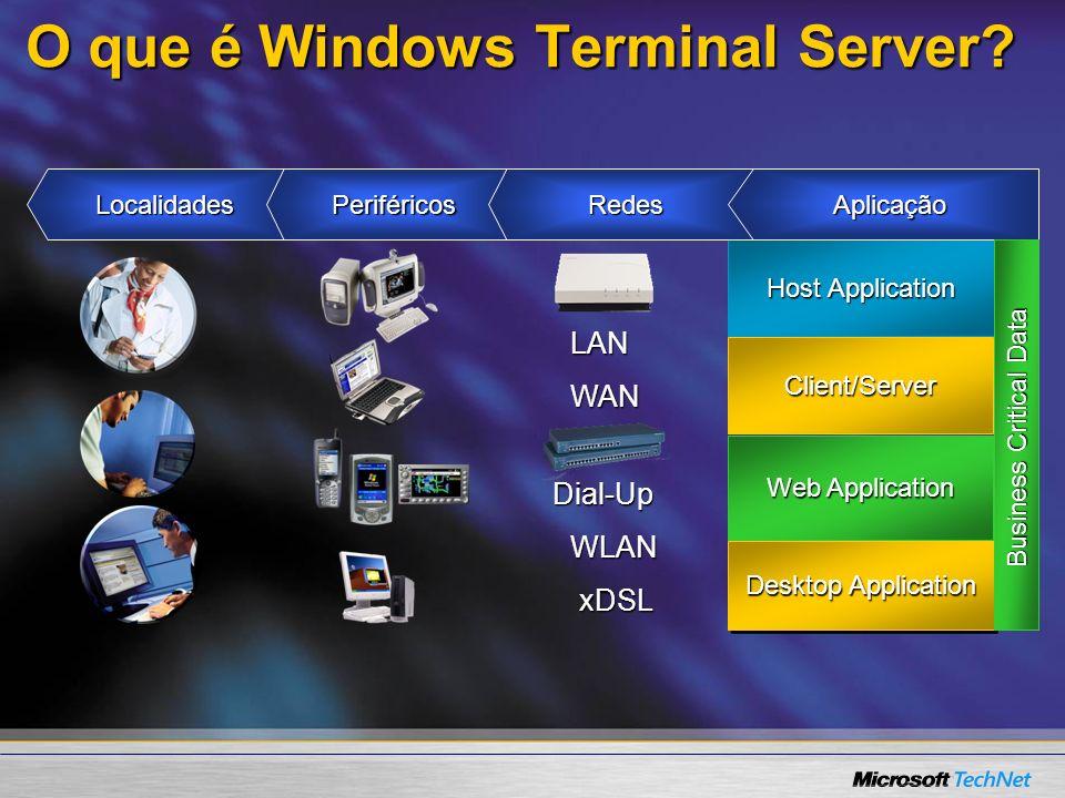 www.microsoft.com/windows.netserver/techinfo/overview/sessiondirectory.mspx Balaceamento de cargas nos servidores de terminal Session DirectorySession Directory –Reconectar em uma sessão desconectada num conjunto de servidores (farm) Para os usuários um conjunto (farm) aparece como um só servidorPara os usuários um conjunto (farm) aparece como um só servidor –Um banco de dados de sessões nos servidores –Produtos: (3 rd Party) Ferramenta de Terceiros ou Microsoft Network Load Balancing